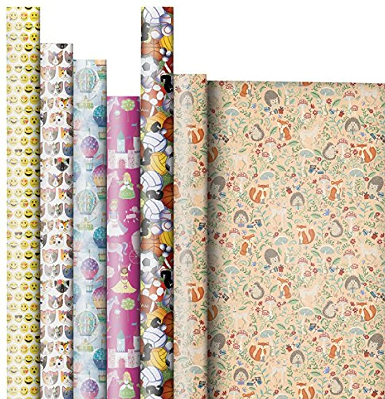 Jillson Roberts 6-Roll Count All-Occasion Gift Wrap Available in 12 Different Assortments, Hooray for Little Girls