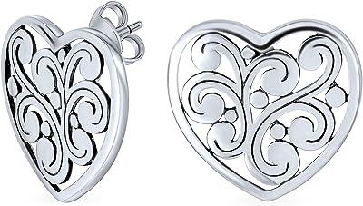 Orecchini girevole a forma di cuore a forma di filigrana per donna per la ragazza 925 argento sterling