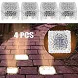 MEDOYOH 4 unidades de 4 luces LED solares de suelo para exteriores, luz blanca cálida, sensor de luz on/off, resistente al agua, foco de suelo para exterior, jardín, patio, camino, decoración