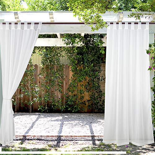LIFONDER White Sheer Curtains for Patio-2 Panels Tab Top Outdoor Pergola Curtains Waterproof Voile Sheer Netting Drapes for Balcony Privacy/Porch Shades/Deck Decor with 2 Tiebacks, W54 by L108