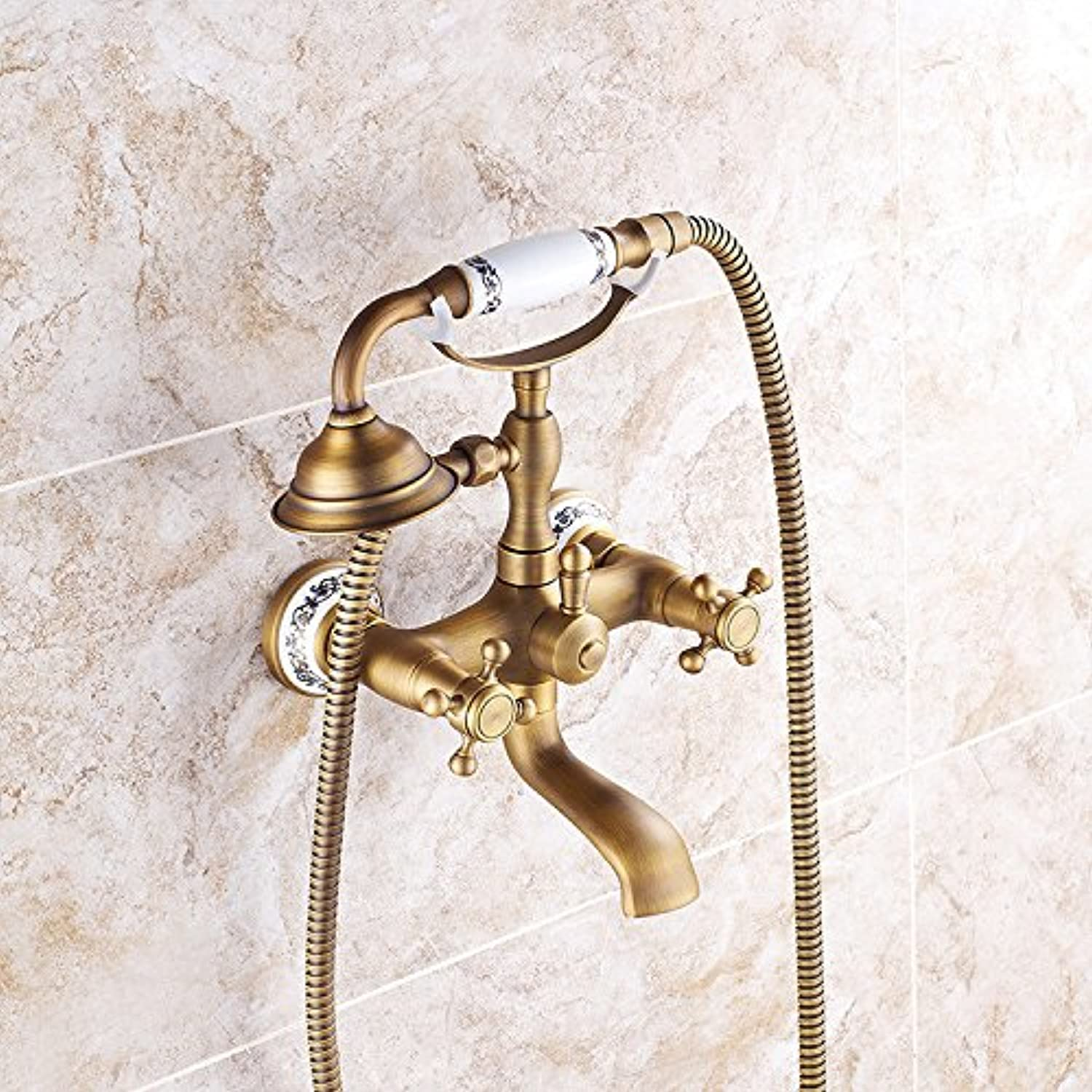 Hlluya Professional Sink Mixer Tap Kitchen Faucet Shower column antique golden showers shower Kit Shower Faucet