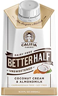 Califia Farms Unsweetened Better Half Coffee Creamer, 16.9 Fl Oz (Pack of 6) | Coconut Cream and Almondmilk | Half & Half | Dairy Free | Whole30 | Keto | Vegan | Plant Based | Nut Milk | Non-GMO