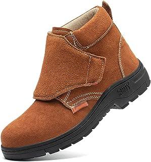 Chaussures de travail Bottes de sécurité soudées en daim des hommes, anti-perforation léger des chaussures industrielles n...