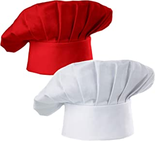 Hyzrz Chef Hat Set of 2 Adult Adjustable Elastic Baker Kitchen Cooking Chef Cap, White, Red