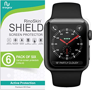(6-Pack) Apple Watch 42mm Screen Protector (Series 3 2 1, Compatible Short Fit for 44mm Series 4) RinoGear Case Friendly iWatch Screen Protector for Apple Watch Series 3 42mm Accessory Clear Film