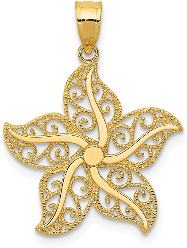 14k Yellow Gold Filigree Starfish 67% OFF of fixed price Fish Charm Se Pendant Animer and price revision Necklace