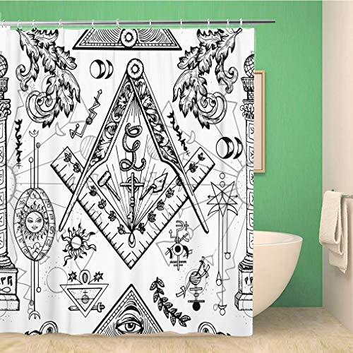 Awowee - Tenda da Doccia Decorativa, con Simboli misteriosi, massoneria segreta, emblemi Occult 180 x 180 cm, Tessuto in Poliestere Impermeabile, Set di Tende da Bagno con Ganci per Il Bagno