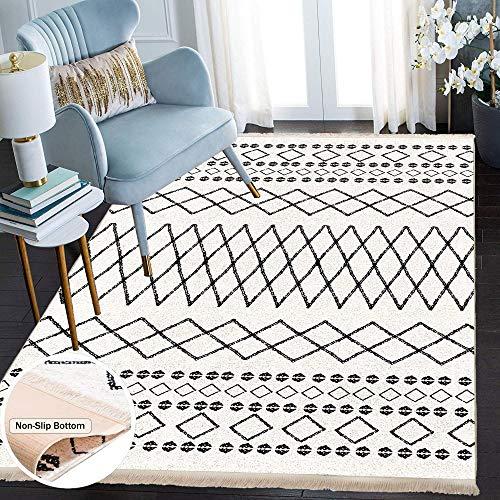 Siela Waschbarer Teppich Für Wohnzimmer, Küche Teppich Läufer Flur, Deko Modern, Teppiche Für Schlafzimmer, Esszimmer rutschfest Waschmaschine Küchen (Weiß-1707, 80x150)
