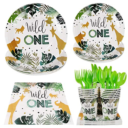 Wild One Party Supplies - Serves 20 Guest Includes Party Plates, Spoons, Forks, Cups, Napkins Party Pack Perfect for Safari Animal Themed Birthday Baby Shower Parties Decorations