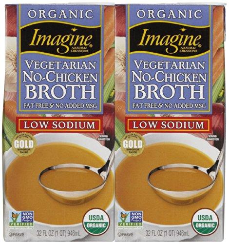 Imagine Organic No Chicken Broth, Low Sodium, 32 oz, 2 pk