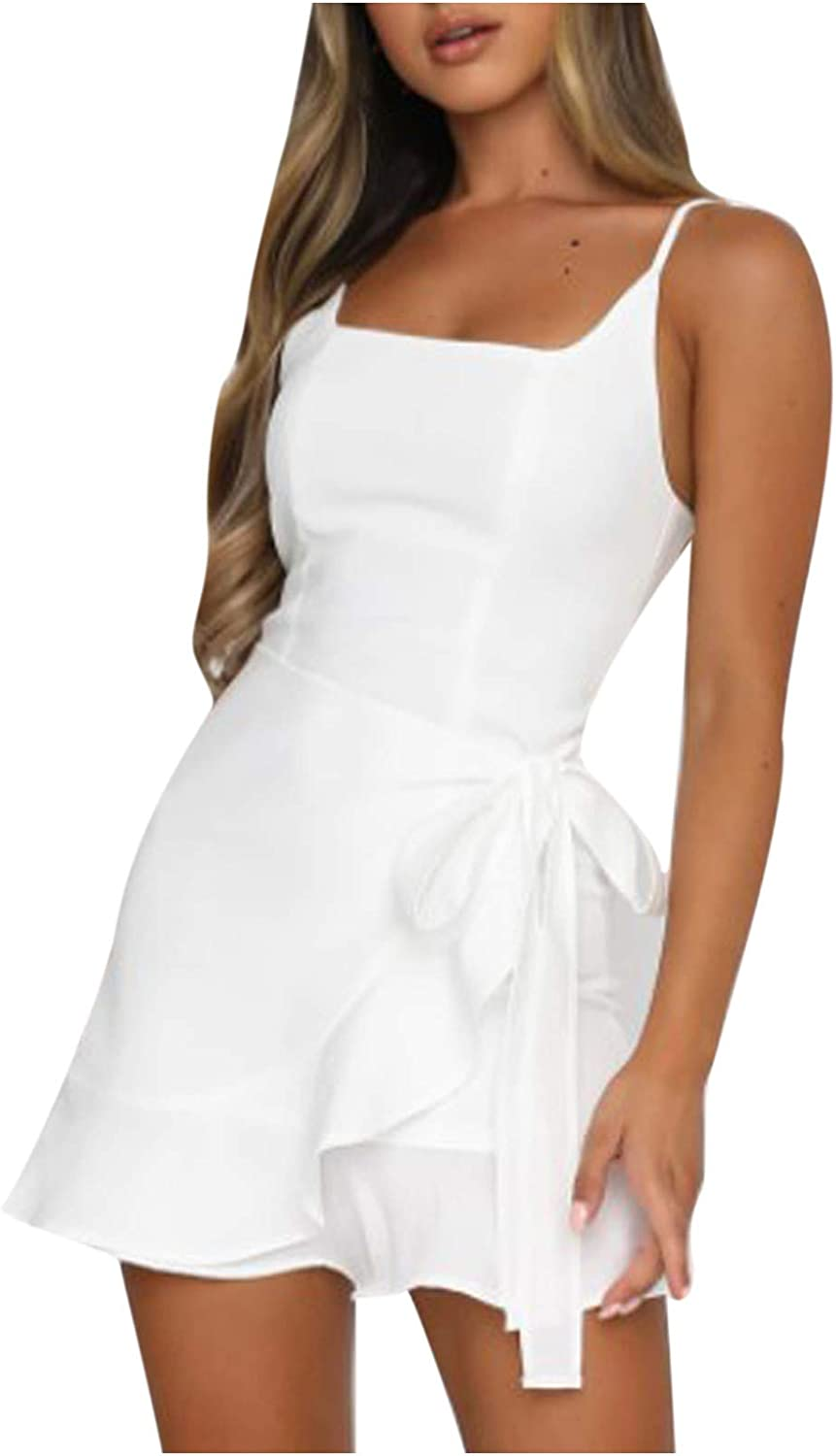 GDHJ Sundresses for Women Casual Beach Solid Color Adjustable Spaghetti Strap Side Ties Ruffled Hem Above Knee Dress