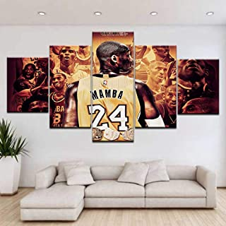 ZZXINK Modular Picture Canvas Wall Art 5 Pieces Basketball Player Sports Painting Print Famous Stars Poster