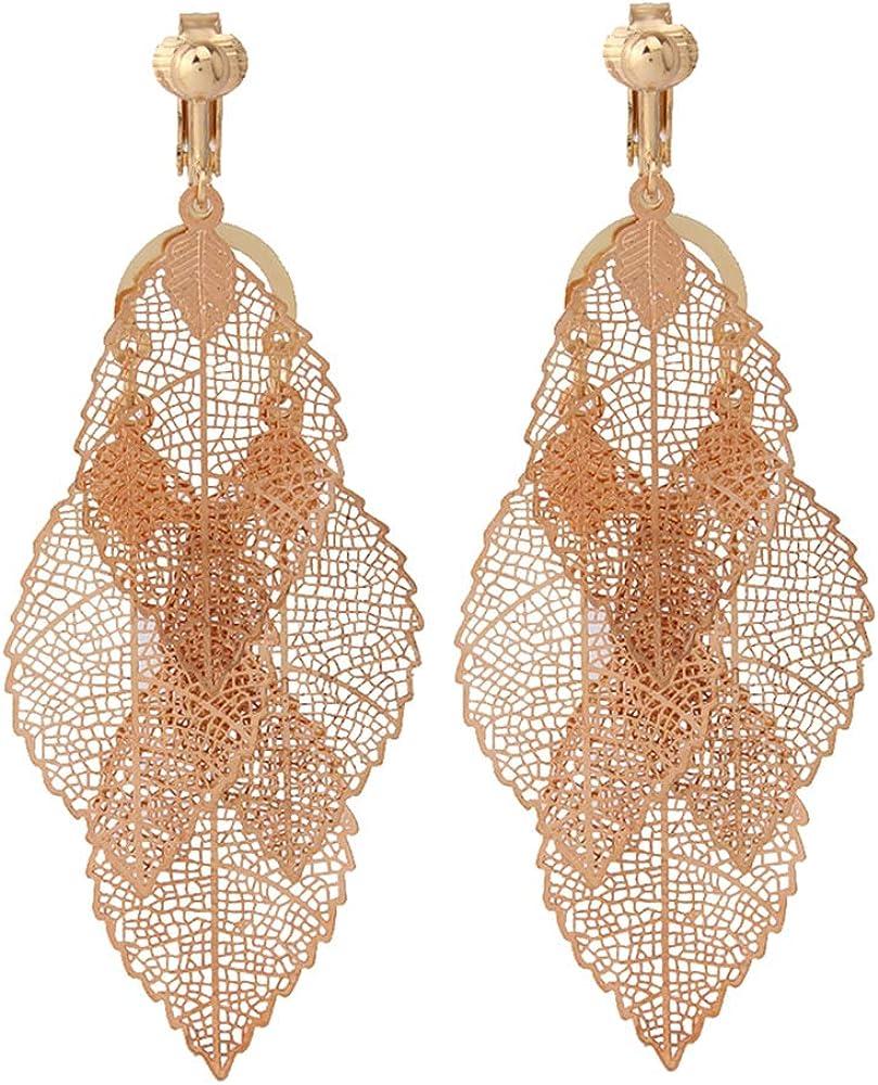 HAPPYAN High-grade Copper Material Multi-Layer Dangle Clip on Earrings Non Pierced for Women Statement Needn't Ear Hole Earrings