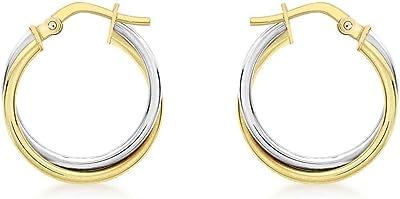 Carissima Gold 375/1000 - Orecchini a cerchio da donna in oro bicolore