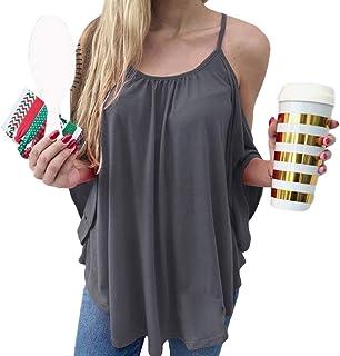 KLJR Women Loose Fit Solid Cold Shoulder Batwing Sleeve T-Shirts Blouse Tops