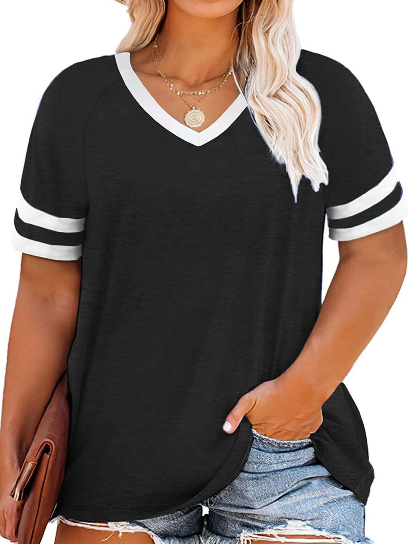VOGRACE Womens Plus-Size Tops Striped V Neck T Shirts Short Sleeve Summer Tunics