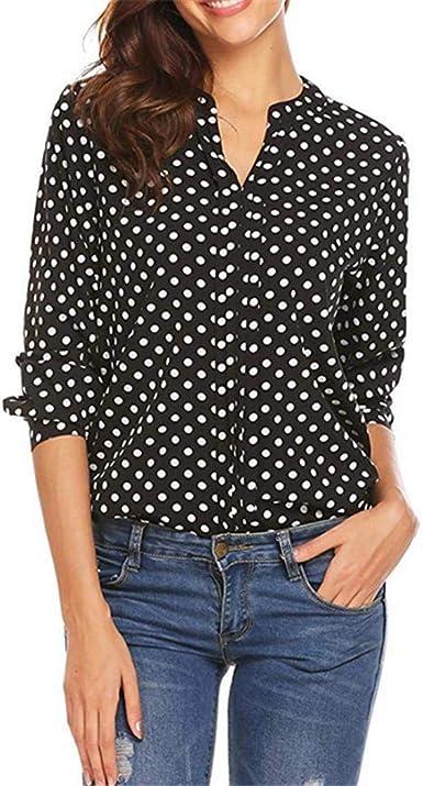 Meaneor Camisa de popelina de fácil cuidado para mujer - Camisas de trabajo lisas de lunares de manga larga
