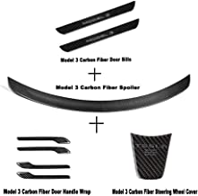 Car Carbon Fiber Protective Wraps Trims Accessories for Tesla Model 3 Spoiler /Door Handle/Door Sills/Steering Wheel Sticker Cover, Rear Trunk Lip Spoiler Wing Kit for Tesla Model 3 2017 2018 2019