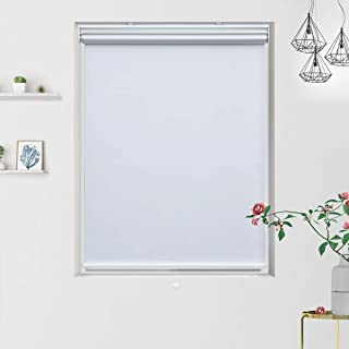 Grandekor Blackout Roller Blinds White Shades for Windows, Cordless Spring System Roller Shade, Thermal and Room Darkening, 35 inch x 72 inch