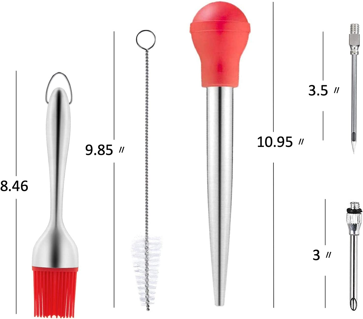 Thanksgiving Turkey Tool kit LaGoldoo Turkey Baster Set 5 Pcs Turkey Pump Flavour Injector; Silicone Oil Brush; Stainless Steel Turkey Baster Syringe and Pump Cleaning Brush for BBQ Grill Red