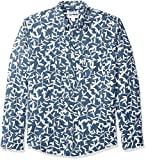 Amazon Essentials - Camisa regular de lino a cuadros con manga larga para hombre, Diseño hojas azul marino, US XL (EU XL - XXL)
