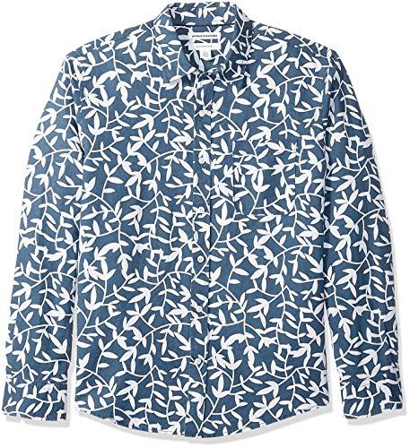 Amazon Essentials - Camisa Regular De Lino A Cuadros Con Manga Larga Para Hombre, Diseño Hojas Azul Marino, US L (EU L)