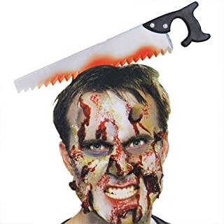 HUIMEIS AU Wearing a Knife Horror All-Person Plastic Bleeding Head Saw Shaft Needle Makeup Halloween Horror Props (Style More) (Color : A*2)