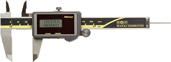 Mitutoyo 500-473 Absolute Digital Caliper, Stainless Steel, Solar Powered, Inch/Metric, 0-4