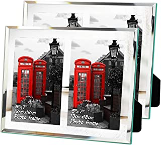 EdenseeLake Double 5x7 Picture Frames Set 2 Pack Mirror Edge Glass Tabletop Photo Frame with 2 Opening