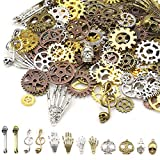 InDrah Antique Metal Steampunk Charms, 250 Gram 155 PCS Assorted Color Sizes Gear Cog Wheel Pendants, Skull, Musical Note and Safety Pin Charms for Necklace Bracelet Jewelry Making
