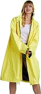 Freesmily Women Long Raincoat Waterproof Rain Jacket with Hood Zipper and Pockets Outdoors