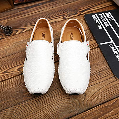 Men's Penny Loafers Driving Shoes Casual Leather Stitched Loafer Shoes(White 40)