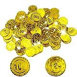 BESTZY 100 Pcs Pièce d'or Angulaire Pirate Gold Coins,Pirates Gold - Coins,Trésor de Pirate,Parti Pirate,Anniversaire des Enfants,Décoration,Jouer de l'argent