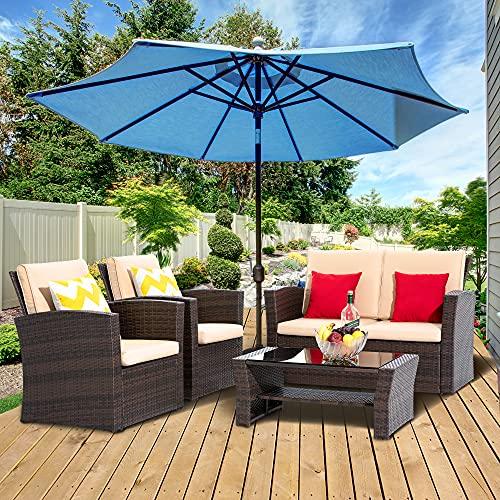 LayinSun 4 Piece Outdoor Patio Furniture Sets, Wicker Conversation Sets, Rattan Sofa Chair with Cushion for Backyard Lawn Garden (Brown)