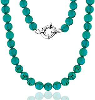 Hand Knotted 10MM Round Ball Bead Strand Green Blue Stabilized Turquoise Necklace For Women 925 Sterling Silver Clasp