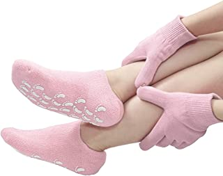 Gel Moisturizing Gloves and Spa Socks Cotton for Dry Cracked Heels Feet Skin Repair Treatment for Large Size Women in Dry Hands and Foot Use Overnight by Phenitech(1pair socks & 1pair g(Pink)