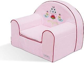 リトルガールリトルボーイフォームアームチェア、子供用ミニソファ、刺繍入り1〜6歳の子供のための動物の写真3色 (Color : Pink)