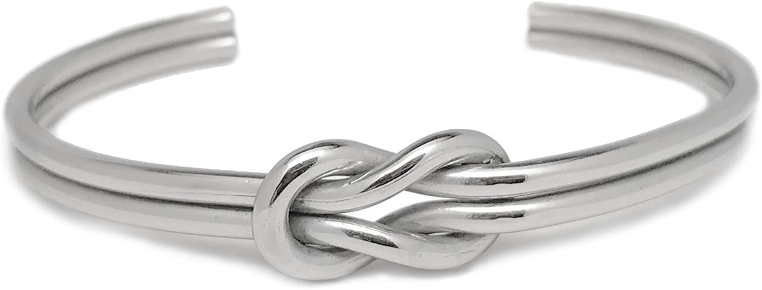 Loralyn Designs Womens Stainless Steel Love Tie The Knot Cuff Bangle Bracelet Adjustable