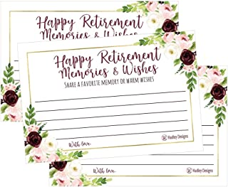 25 Floral Retirement Party Advice Well Wish Card For Men or Women Retired Supplies and Decoration Happy Retiree Celebration Gift Bucket List Wish Jar, Funny Personalized Officially Retired Centerpiece