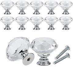 10-delige set kristallen diamant ladeknoppen helder glas meubelknoppen met schroeven voor wooncultuur ladegreep (zilver-40...