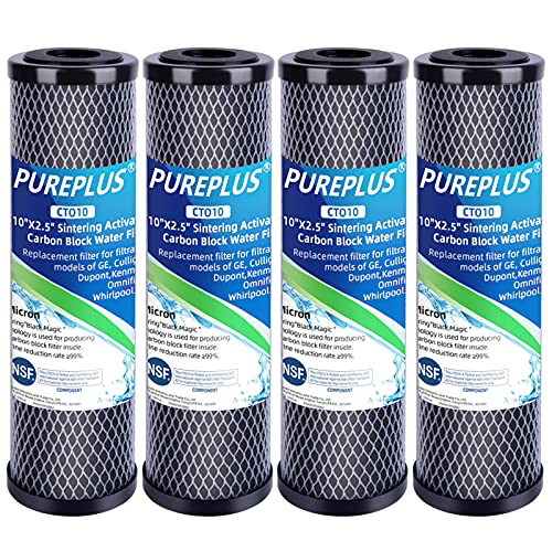 """1 Micron 2.5"""" x 10"""" Whole House CTO Carbon Water Filter Cartridge Replacement for Countertop Water Filter System, Dupont WFPFC8002, WFPFC9001, FXWTC, SCWH-5, WHEF-WHWC, WHCF-WHWC, AMZN-SCWH-5, 4Pack"""