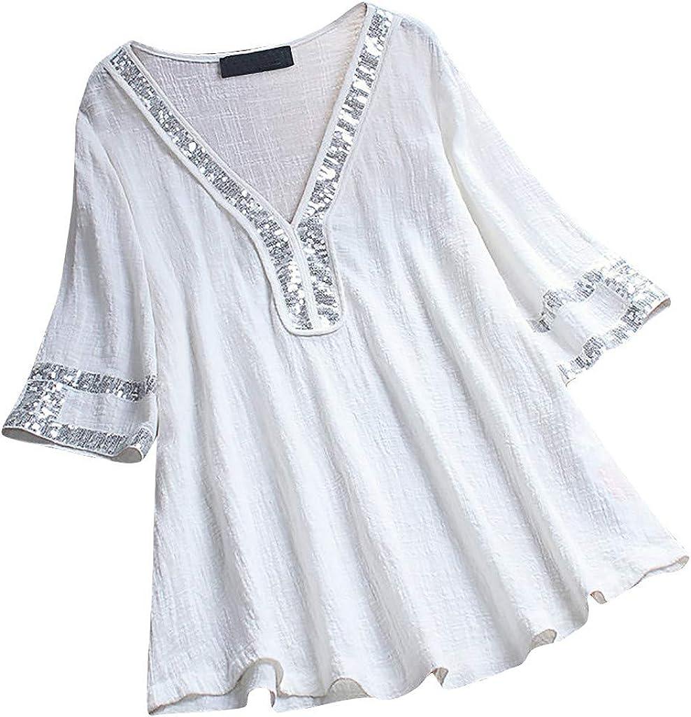 Blouse Overseas parallel import regular item for Ladies 2019 New Elegant Sex Sequins Patchwork Women's V-Neck