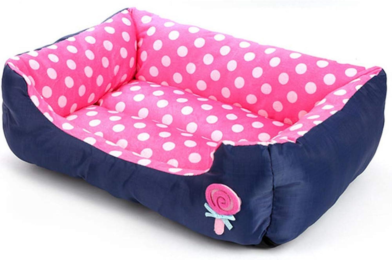 All Seasons Pet Dog Bed House Sofa Kennel Super Soft Velvet Pet Dog Cat Warm Bed,Pink,M