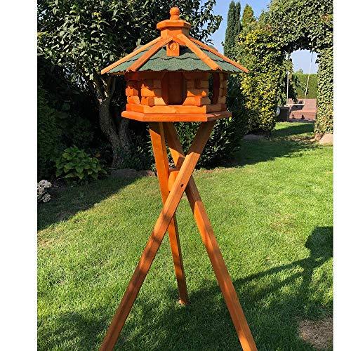 Darlux - Comedero para pájaros (hexagonal, madera con soporte), color marrón y verde