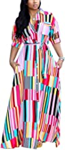 Womens Casual Button Down Collar Short Sleeve Stripes Belted Loose Long Maxi Dresses Shirt Plus Size