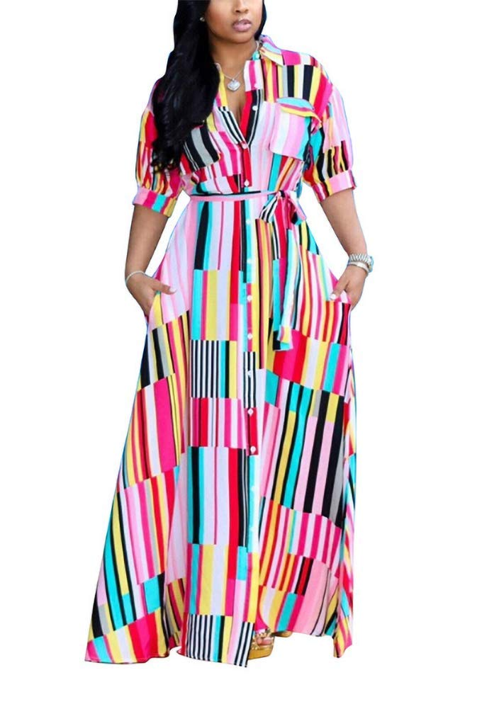 Available at Amazon: Women's Casual Button Down Collar Short Sleeve Stripes Belted Loose Long Maxi Dresses Shirt Plus Size