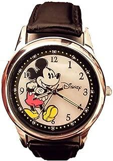 Disney Women's Watch MK1089 Mickey Mouse Black Genuine Leather Strap