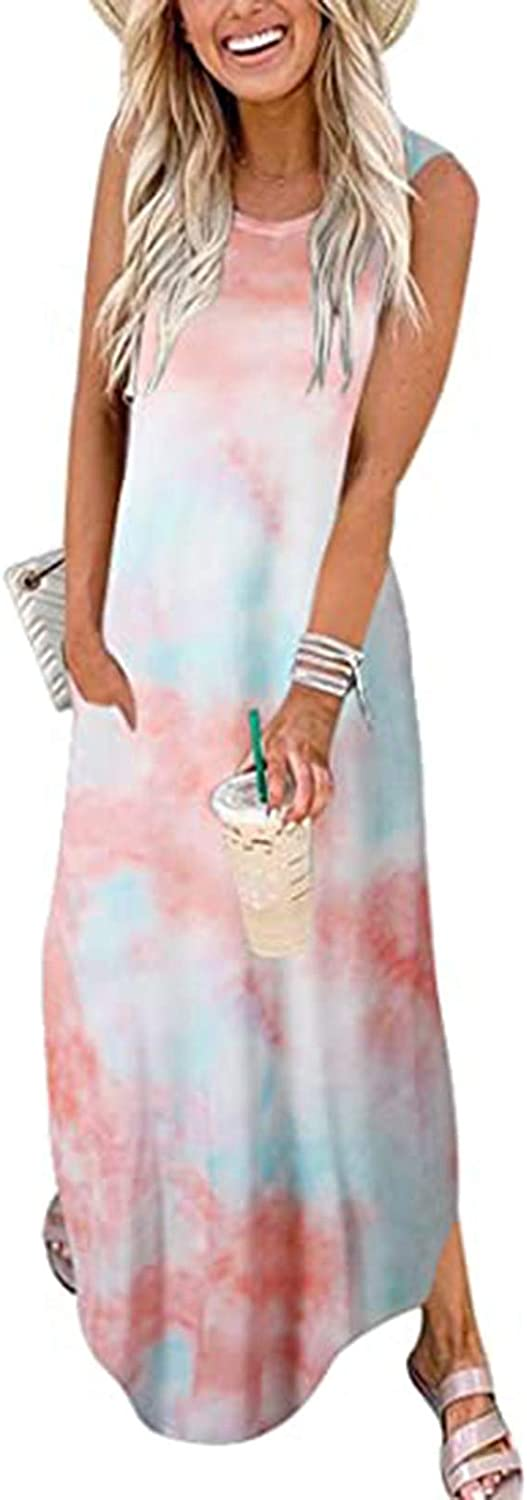 Dresses for Women Casual,Maxi Dresses Color Block Beach Cover Up Sleeveless Split Long Loose Dress with Pockets