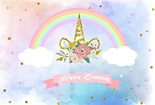 Laeacco 5x3ft Vinyl Photography Backdrop Abstract Watercolor Background Golden Unicorn Horn Flwoers Happy Birthday Party Decoration Cute Rainbow Clouds Dots Dreamy Sky Newborn Baby Children Girls