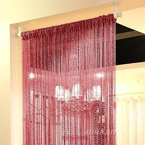 Topixdeals Rare Flat Silver Ribbon Door String Curtain Thread Fringe Window Panel Room Divider Cute Strip Tassel Party Events (2 Pack, Claret)